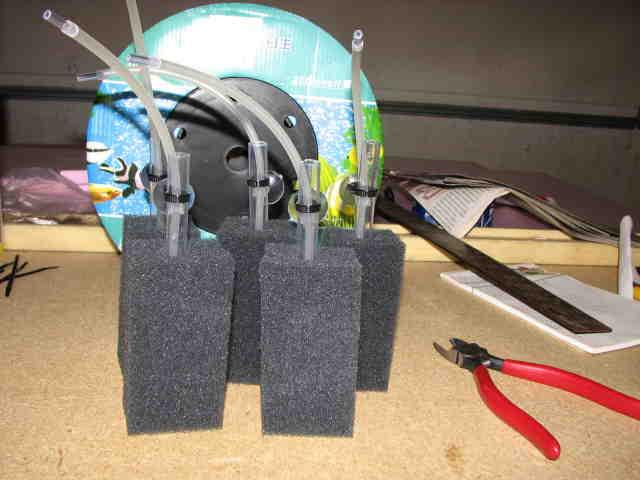 Diy poret foam filters ball aquatics for Fish tank filter homemade